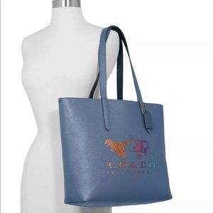 Coach Rexy and Carriage Print Highline Tote Blue